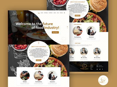 Landing page for Cloud Kitchen business food landing page adobe xd