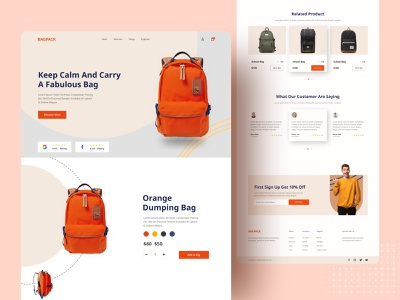 Product Web UI Exploration || 2021 bag design bag ui design uiux popular design 2021 trend web website dribbble best top designer product website home page landing page webdesign website design backpack tour minimal popular