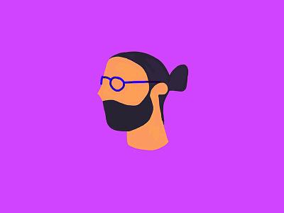 Man with bun ile no ilenia notarangelo paperapp ipadpro illustration illo bun character design portrait profile man