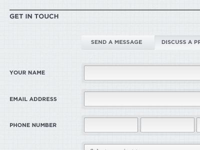 Monochrome website form gray