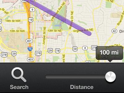 Map Toolbar iphone ui mobile web app map slider