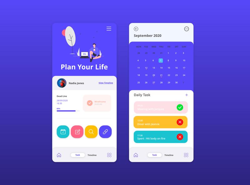 Plan Your Life mobile design mobile app mobile application app webdesign maquette design