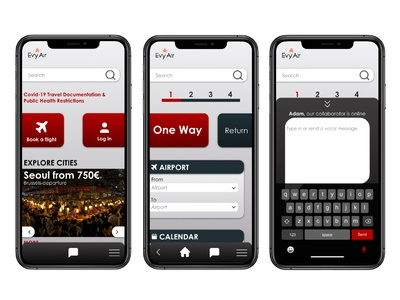 Evy Air - Mobile prototype airline app ux designer ios app mobile app design mobile app ux ui design ux design ux ui ux ui