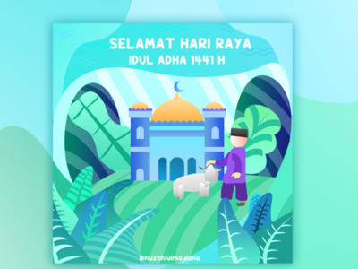 greeting card Eid Idul AL-Adha 2020 branding type art app icon flat vector illustration typography design
