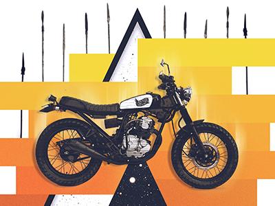 Motolinear #3 - Yamaha Scorpio 225 yamaha brat custom scorpio225 design motorcycle illustration brand motorcycles retro