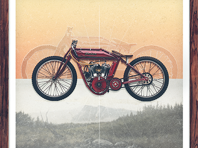 Motolinear #4 - Vintage Indian Twin design illustration motorcycle motorcycles logo brand vintage indian twin