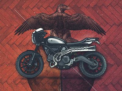 Motolinear #7 - Ducati Scrambler design motorcycle illustration motorcycles ducati scrambler custom moto modern motoart art photoshop
