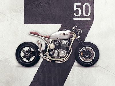 Motolinear #12 - Honda CB750 racer brat classic custom cb750 honda photoshop motorcycles illustration motorcycle design