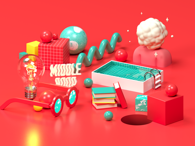 Middle Boop Illustrations 01: Immersion 3d illustration web design branding c4d 3d cinema 4d drawing design illustration