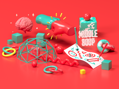 Middle Boop Illustrations 02: Collaboration web design brand studio 3d c4d cinema 4d design illustration