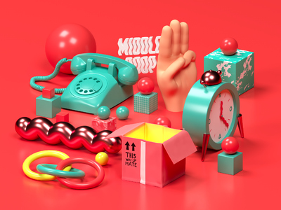 Middle Boop Website Illustrations 03: TRUST c4d 3d cinema 4d drawing design illustration