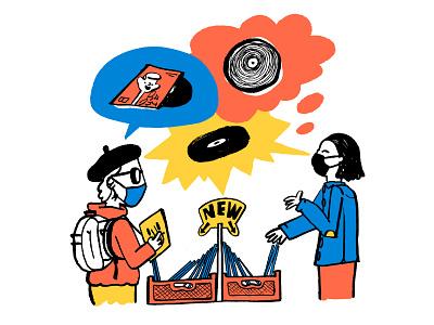 Record Store Day – The Skinny: June 2021 records vinyl editorial illustration spot illustration editorial magazine drawing cartoon illustration