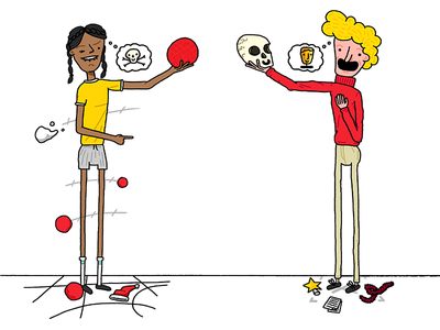 Dodgeball & Drama design cartoon drama dodgeball print flyer character illustration