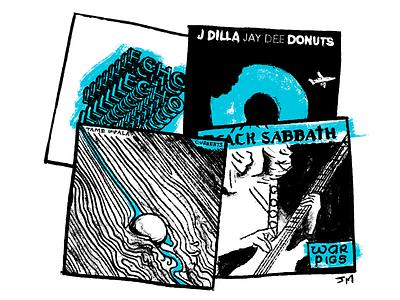 June 2017's Music Consumption album tame impala black sabbath j dilla music photoshop ink doodle drawing portrait caricature illustration