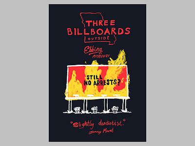 12/52: Three Billboards Outside Ebbing Missouri illustration movie poster fan poster frances mcdormand three billboards cartoon