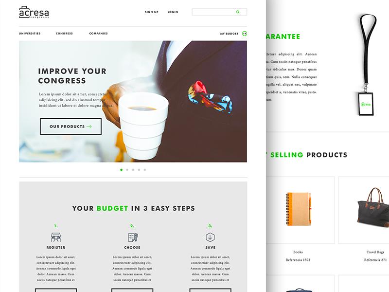 Acresa Congress Shop ecommerce white simple green ux ui design photoshop