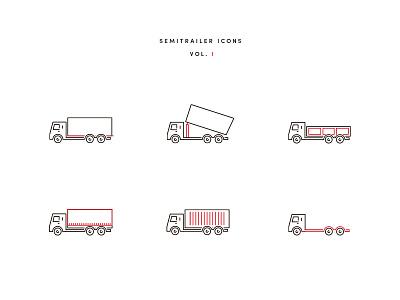 Semitrailer Icons photoshop illustrator icon vehicle semitrailer trucks icons
