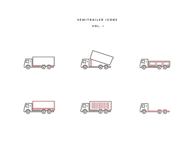 Semitrailer Icons photoshop illustrator icon vehicle semitrailer trucks icons