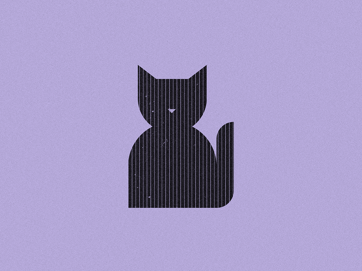Black cat vector icon illustration