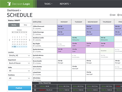 Work Schedule web app calendar schedule