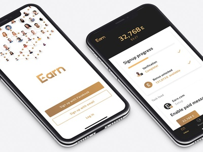 Earn.com app iphonex ethereum crypto mobile ui ux