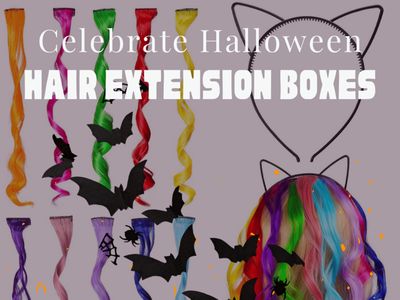 Use Hair Extensions on Halloween halloween typogaphy branding design ui ux illustration cardboard boxes cosmetic boxes design businesscard packaging branding business marketing hair extension hair extension boxes wholesale custom boxes with logo custom boxes custom hair extension boxe