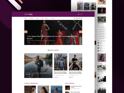 Webzine — Blog Website Template multipurpose fashion uidesign web developer webdesigner uiux ui template webdesign