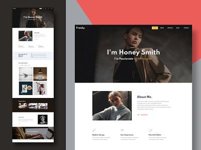 Freaky — Personal Website Template illustration icon multipurpose logo ui fashion design branding app webdesign template