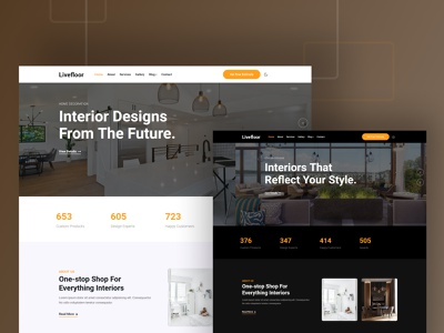 Livefloor — Interior and Furniture Website Template icon multipurpose logo fashion design branding app webdesign ui template