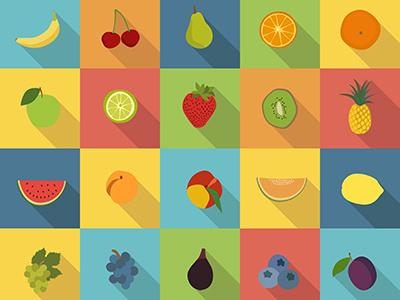 Fruitful fruit icons flat design fruits flat