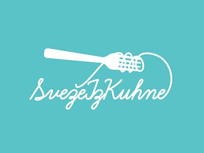 SvežeIzKuhne Logo cooking logo food pasta spaghetti fork flat blue lettering script