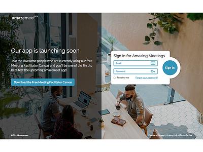 Amazemeet login form signin signup homepage landing page