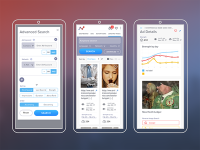Mobile Views for Ads favorite chart advertising purple ux search ads