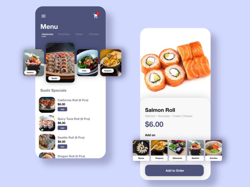 Shokumotsu | Japanese Food Delivery App delivery app ui mobile app mobile ui sushi roll japanese food food app design food app foodie