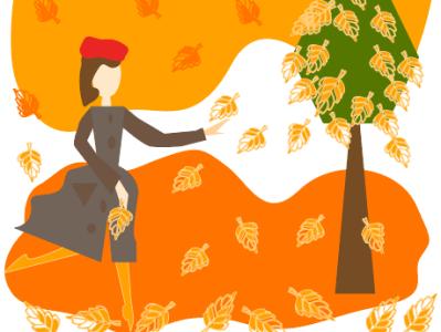 осенний вальс девушки с листьями print for a cup print on poster for mood print on notebook print for brandbook autumn cozy illustrator