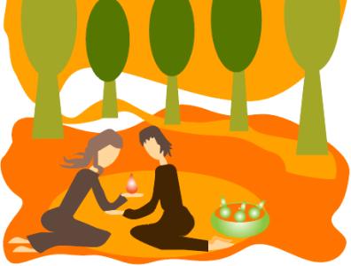 осенний пикник вдвоем print for cup print on a poster for mood print on notepad print for brandbook autumn cozy illustrator