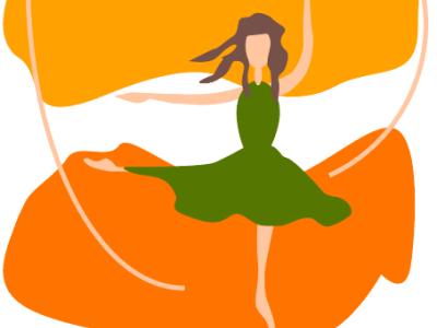 балерина танцует осенью print for a cup print on poster for mood print on notebook print for brandbook autumn cozy illustrator