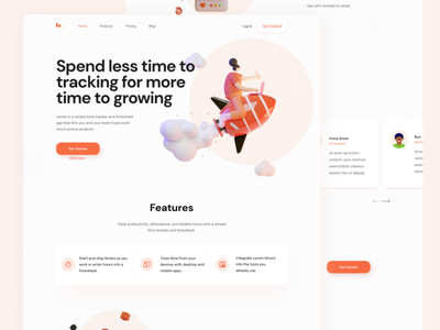 Time tracker redesign concept redesign red flat design concept vector illustration web ui figma landingpage landing lp time timetracker