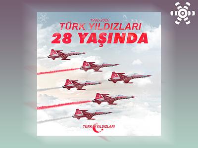 Türk Yıldızları'nın 28. Yıl Dönümü social media design anniversary jet plane typography design
