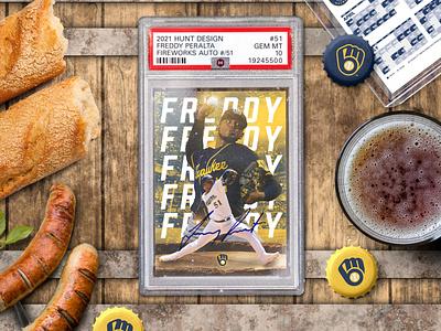 Freddy Peralta | Sports Card Design print design sports card mlb freddy peralta brewers milwaukee brewers baseball design baseball sports sports design product design concept photoshop design mockup