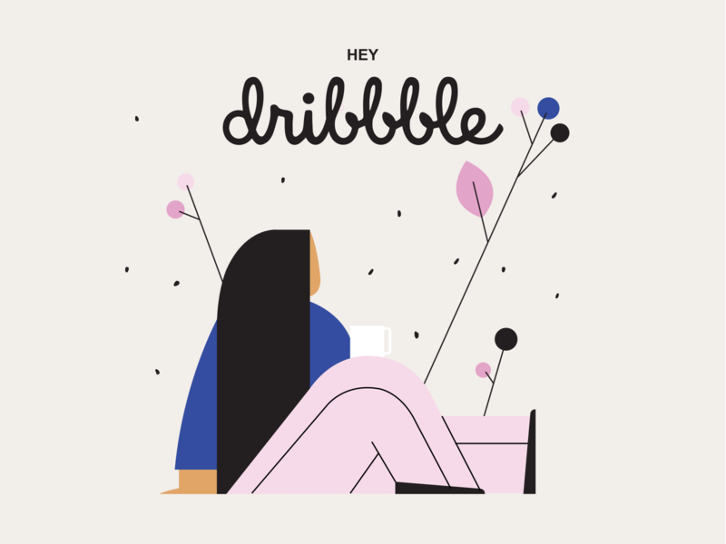 Hey Dribbble ! character design branding design illustration hello character