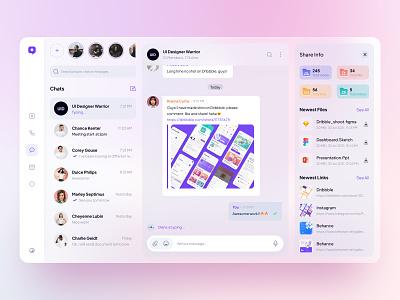 #Exploration UI Messanger. Light Theme social media light glassmorphism glassy minimal clean design chat app dashboard clean chat app illustration ui design uiux