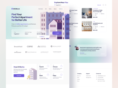#Exploration Landing Page Apartment Finder property finder homepage landing page uidesign real estate webdesign vector desktop illustration apartment uiux ux ui