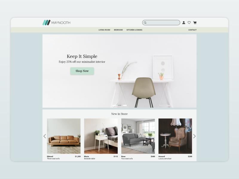 Maynooth Furniture Website Design maynooth adobexd webdesign ecommerce furniture ui