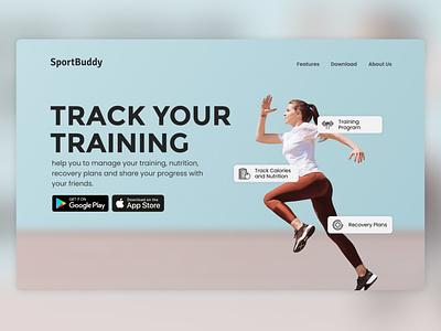 SportBuddy - Social Platform & Traning Tracker landing page figma design webdesign ui indonesia