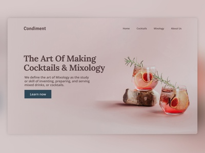 Condiment - Cocktails & Mixology landing page figma design webdesign ui indonesia