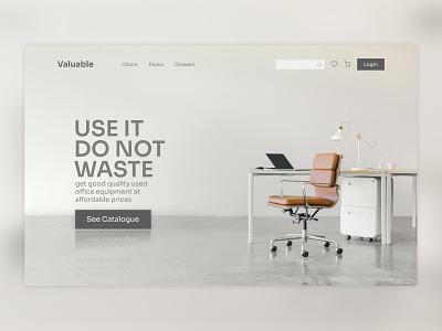 Valuable - Sells Used Office Equipment indonesia furniture minimalist landing page webdesign figma design ui
