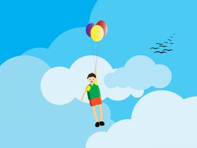 Meet The Sky designer graphic design design illustration animate cartoon happy fly balloon kids