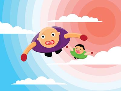 Superhero Family art designer design cloud sun sky portrait vector illustration cartoon cartoon character hero happy kid family father