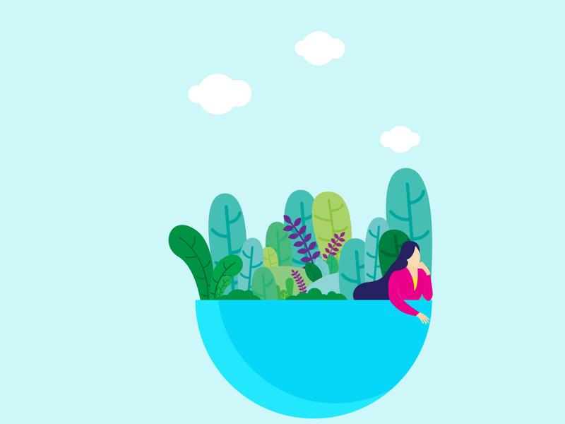 Blue Morning deaigner design cartoon flat design illustration sun leaf garden girl